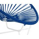 Detalle de Pequena Silla acapulco con estructura blanca Azul Marino