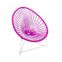 Magenta Acapulo chair for kids with White frame