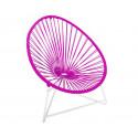 silla acapulco con estructura blanca para niños Fucsia