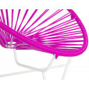 Magenta Detail Acapulo chair for kids with White frame