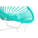 Turquoise Detail Acapulo chair for kids with White frame