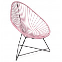 Acapulco Pastel Coral Chair and Black frame