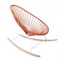 fauteuil à bascule ski bois Acapulco Structure Blanche tressage Rouge