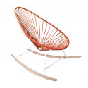 Red Acapulco wood rocker white frame chair