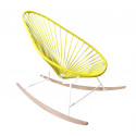 fauteuil à bascule ski bois Acapulco Structure Blanche tressage Jaune