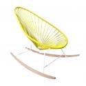 Yellow Acapulco wood rocker white frame chair