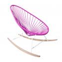 fauteuil à bascule ski bois Acapulco Structure Blanche tressage Fuschia