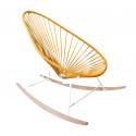 fauteuil à bascule ski bois Acapulco Structure Blanche tressage Orange