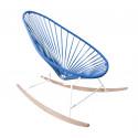 fauteuil à bascule ski bois Acapulco Structure Blanche tressage Bleu Nuit