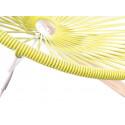 Details of Lemon Yellow Acapulco wood rocking white frame chair