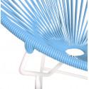 Détail fauteuil Structure Blanche Acapulco rond Bleu