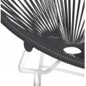 Détail fauteuil Structure Blanche Acapulco rond Noir