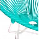 Détail fauteuil Structure Blanche Acapulco rond Vert Turquoise