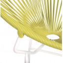 Détail fauteuil Structure Blanche Acapulco rond Jaune moutarde