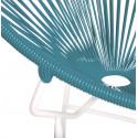 Détail fauteuil Structure Blanche Acapulco rond Bleu Canard