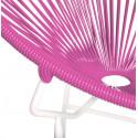 Détail fauteuil Structure Blanche Acapulco rond Fuschia