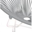 Détail fauteuil Structure Blanche Acapulco rond Gris