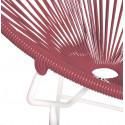Détail fauteuil Structure Blanche Acapulco rond Bordeaux