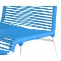 detaille de silla estructura blanca trensada Azul Cielo