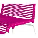 detaille de silla estructura blanca trensada Fucsia