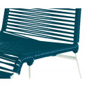 deep blue chair detail and white frame