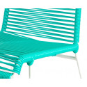 Turquoise plastic thread white frame chair