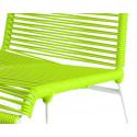 detaille de silla estructura blanca trensada Verde