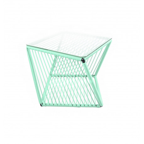 mesa cuadrada auxiliar verde agua