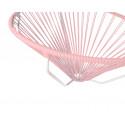 Details of rosa quartz Acapulco hanging white frame chair