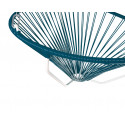 Details of ocean Blue Acapulco hanging white frame chair