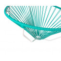 Details of Turquoise Acapulco hanging white frame chair