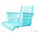 silla con apoyabrazos trenzado de comedor Blanco