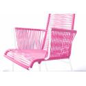 White Dining braided armrest chair
