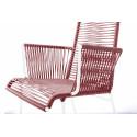 Chaise Design avec accoudoir tressé Blanc