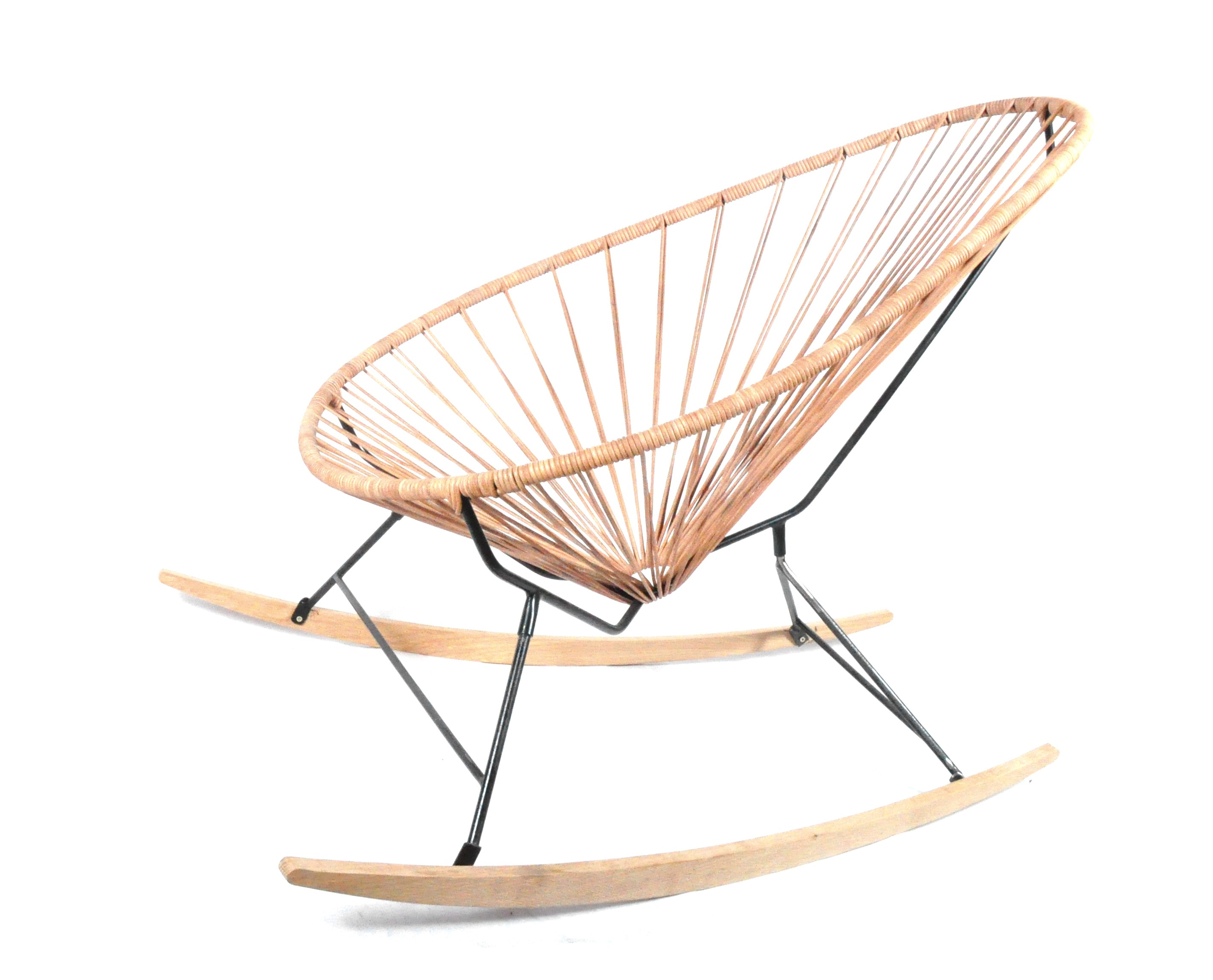 Acapulco chair dimensions - Leather Wood Rocker Acapulco Chair