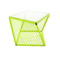 Green square side table