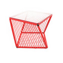 Red square side table