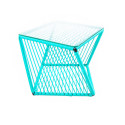 Turquoise square side table