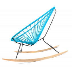 Details of sky blue Acapulco wood rocking chair