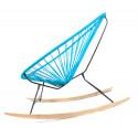 détail fauteuil bascule bois Acapulco Bleu