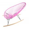 Pink Acapulco wood rocker chair