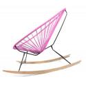 détail fauteuil bascule bois Acapulco Rose