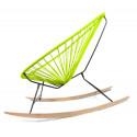 détail fauteuil bascule bois Acapulco Vert Anis