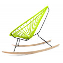 Details of Green Acapulco wood rocking chair