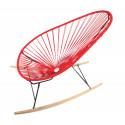 Red Acapulco wood rocker chair