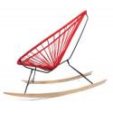 détail fauteuil bascule bois Acapulco Rouge