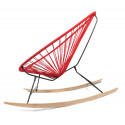 Details of Red Acapulco wood rocking chair