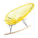 Yellow Acapulco wood rocker chair