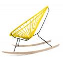 détail fauteuil bascule bois Acapulco Jaune