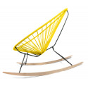 Details of Yellow Acapulco wood rocking chair